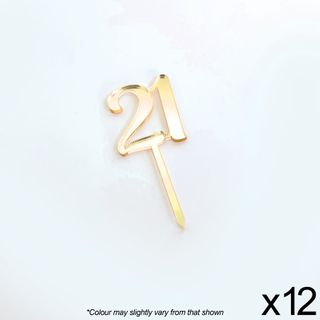CAKE CRAFT | #21 | 3.5CM | GOLD MIRROR | ACRYLIC CUPCAKE TOPPER | 12 PACK