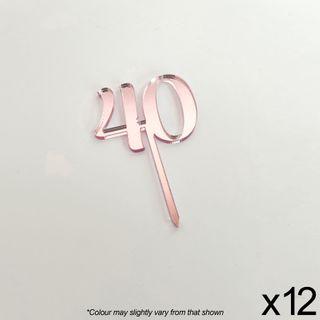 CAKE CRAFT   #40   3.5CM   ROSE GOLD MIRROR   ACRYLIC CUPCAKE TOPPER   12 PACK