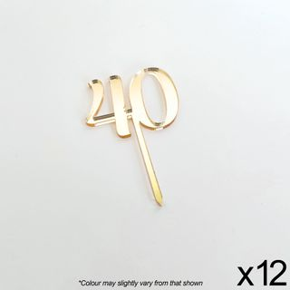 CAKE CRAFT   #40   3.5CM   GOLD MIRROR   ACRYLIC CUPCAKE TOPPER   12 PACK