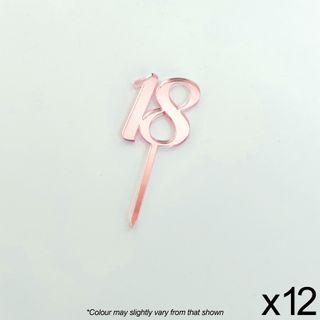 CAKE CRAFT | #18 | 3.5CM | ROSE GOLD MIRROR | ACRYLIC CUPCAKE TOPPER | 12 PACK