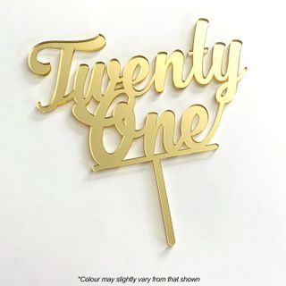 NUMBER TWENTY ONE GOLD MIRROR ACRYLIC CAKE TOPPER