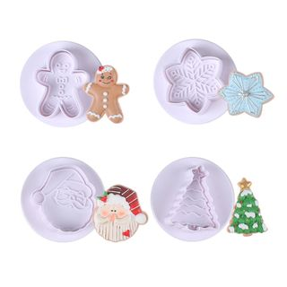 CHRISTMAS | WHITE | PLUNGER CUTTERS | SET OF 4