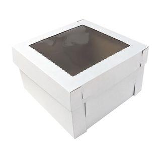 14X14X8 INCH CAKE BOX & LID WITH WINDOW | CORRUGATED