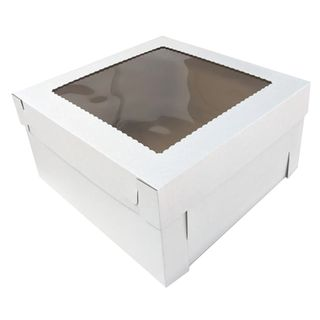 16X16X8 INCH CAKE BOX & LID WITH WINDOW | CORRUGATED