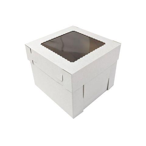 10X10X8 INCH CAKE BOX & LID WITH WINDOW   CORRUGATED