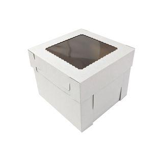 10X10X8 INCH CAKE BOX & LID WITH WINDOW | CORRUGATED