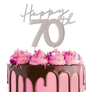 CAKE CRAFT   METAL TOPPER   HAPPY 70TH   SILVER
