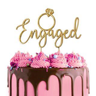 CAKE CRAFT | METAL TOPPER | ENGAGED | GOLD