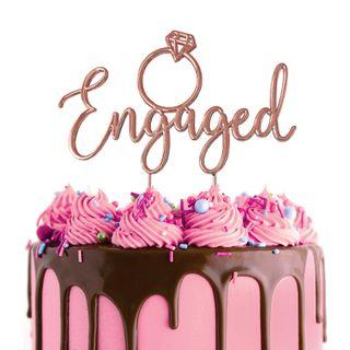 CAKE CRAFT | METAL TOPPER | EINGAGED | ROSE GOLD