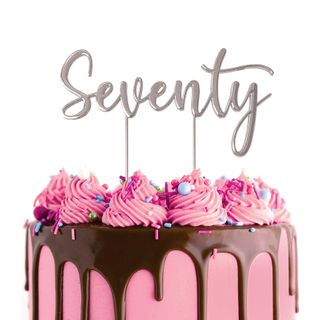 CAKE CRAFT   METAL TOPPER   SEVENTY   SILVER