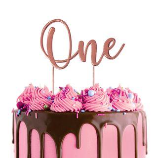CAKE CRAFT | METAL TOPPER | ONE | ROSE GOLD