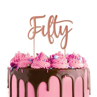CAKE CRAFT | METAL TOPPER | FIFTY | ROSE GOLD