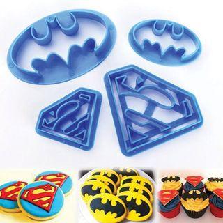 BATMAN & SUPERMAN SET | COOKIE CUTTER | 4 PIECES