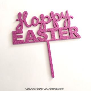 HAPPY EASTER PINK GLITTER ACRYLIC CAKE TOPPER