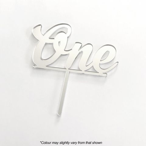 NUMBER ONE SILVER MIRROR ACRYLIC CAKE TOPPER