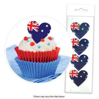 CAKE CRAFT | AUSTRALIAN FLAG HEART | WAFER TOPPERS | PACKET OF 16