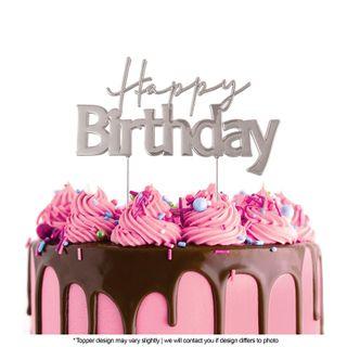 CAKE CRAFT   METAL TOPPER   HAPPY BIRTHDAY STYLE #1   SILVER   12CMx7CM
