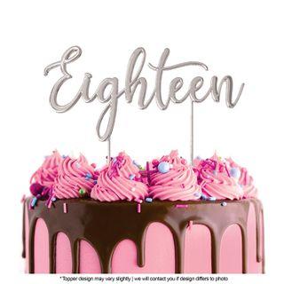 CAKE CRAFT | METAL TOPPER | EIGHTEEN | SILVER | 12CM