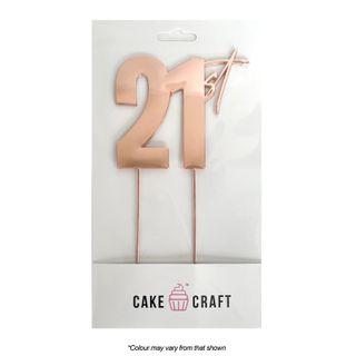 CAKE CRAFT | METAL TOPPER | 21ST | ROSE GOLD | 9CM