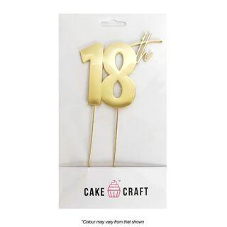 CAKE CRAFT | METAL TOPPER | 18TH | GOLD | 9CM