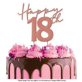 CAKE CRAFT | METAL TOPPER | HAPPY 18TH | ROSE GOLD | 12CM