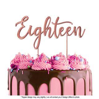 CAKE CRAFT | METAL TOPPER | EIGHTEEN | ROSE GOLD | 12CM
