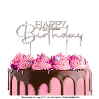 CAKE CRAFT   METAL TOPPER   HAPPY BIRTHDAY STYLE #2   SILVER