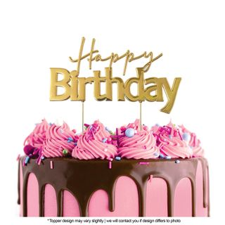 CAKE CRAFT | METAL TOPPER | HAPPY BIRTHDAY STYLE #1  | GOLD | 12CMx7CM