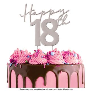 CAKE CRAFT | METAL TOPPER | HAPPY 18TH | SILVER | 12CM