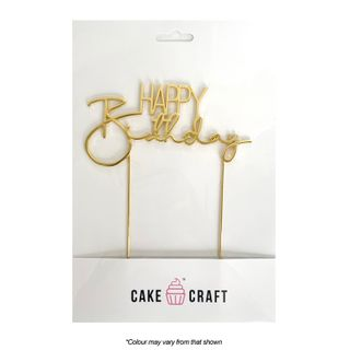 CAKE CRAFT   METAL TOPPER   HAPPY BIRTHDAY STYLE #3    GOLD