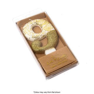 NUMBER 9   GOLD   GLITTER DIPPED CANDLE