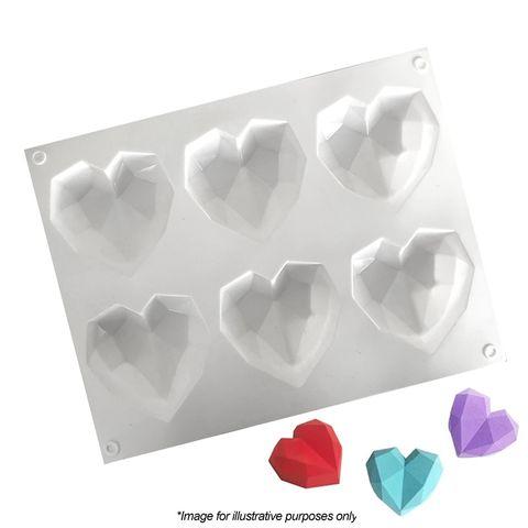 6 MINI 3D GEO HEARTS   SILICONE MOULD