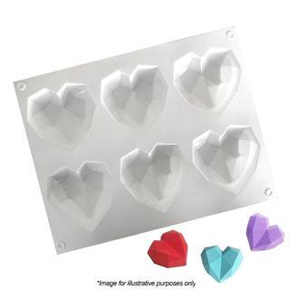 6 MINI 3D GEO HEARTS | SILICONE MOULD
