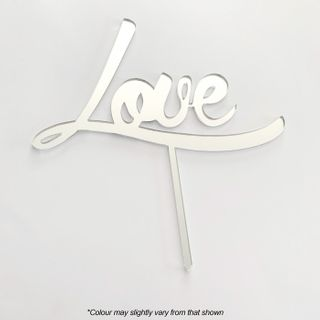 LOVE SILVER MIRROR ACRYLIC CAKE TOPPER