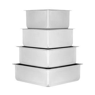 CAKE PAN/TIN   SQUARE SET OF 4 (6-8-10-12 INCH)   3 INCH DEEP
