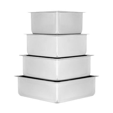 CAKE PAN/TIN | SQUARE SET OF 4 (6-8-10-12 INCH) | 3 INCH DEEP