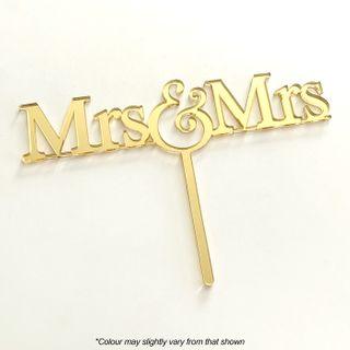 MRS & MRS GOLD MIRROR ACRYLIC CAKE TOPPER