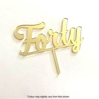 NUMBER FORTY GOLD MIRROR ACRYLIC CAKE TOPPER