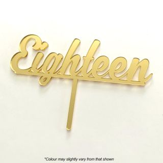 NUMBER EIGHTEEN GOLD MIRROR ACRYLIC CAKE TOPPER