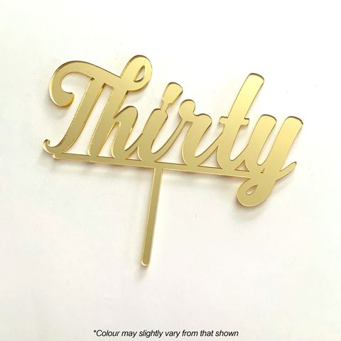 NUMBER THIRTY GOLD MIRROR ACRYLIC CAKE TOPPER