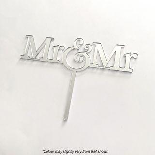 MR & MR SILVER MIRROR ACRYLIC CAKE TOPPER