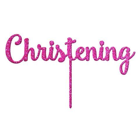CHRISTENING PINK GLITTER ACRYLIC CAKE TOPPER