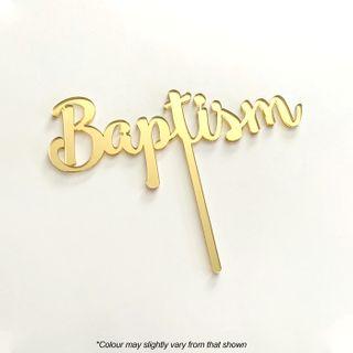 BAPTISM GOLD MIRROR ACRYLIC CAKE TOPPER