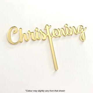 CHRISTENING GOLD MIRROR ACRYLIC CAKE TOPPER