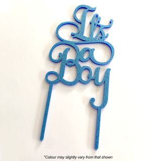 IT'S A BOY BLUE GLITTER ACRYLIC CAKE TOPPER