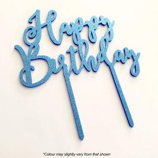 HAPPY BIRTHDAY BLUE GLITTER ACRYLIC CAKE TOPPER