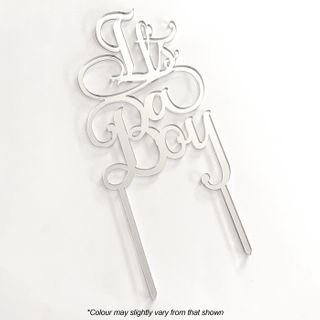 IT'S A BOY SILVER MIRROR ACRYLIC CAKE TOPPER