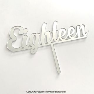 NUMBER EIGHTEEN SILVER MIRROR ACRYLIC CAKE TOPPER