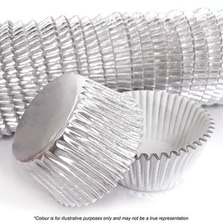 CAKE CRAFT | 408 SILVER FOIL BAKING CUPS | PACK OF 500