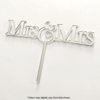 MRS & MRS SILVER MIRROR ACRYLIC CAKE TOPPER